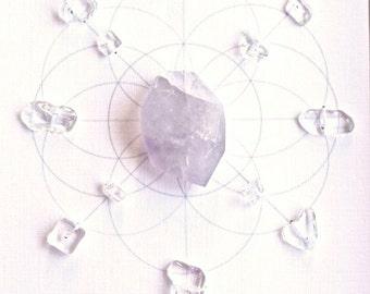 AMETHYST -- CRYSTAL GRID--- framed crystal grid with sacred geometry