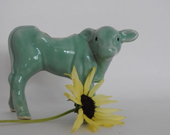 Adorable Turquoise Cow Planter
