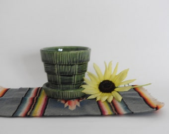 Small Green Basket Weave McCoy Pottery Planter