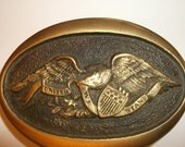 "Vintage Belt Buckle, American Eagle, Solid Brass, Stamped & Numbered, ""United We Stand"" Belt Buckle, Authentic Collectible, Only 1 Available"