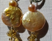 Jimbo freshwater coin pearls and Chinese crystal with sterling silver leverback earwires