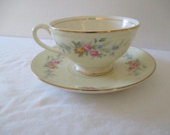 Vintage Homer Laughlin Eggshell Georgian - Cup & Saucer - Cashmere Pattern
