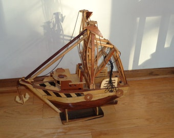 Vintage Hand Made Wooden Fishing Boat, Intricate and Detailed Folk Art Style Tug  Boat Sculpture in Very Good Condition with aged patina