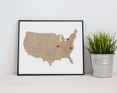 USA Map custom Personalized Heart Print - I Love America - Dotted Lines - Love Connection - Art Gift United States Destination Wedding