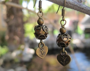 Simple Rustic Boho Earrings - Lacy Capped Brown Crystal Beads with Hearts and Flower Charm Earrings