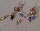 Dangling Butterfly Earrings, Colorful, Long Trailing Butterfly Earrings, Summer Earrings, Multicolor Beaded Butterfly Earrings, Summer SALE