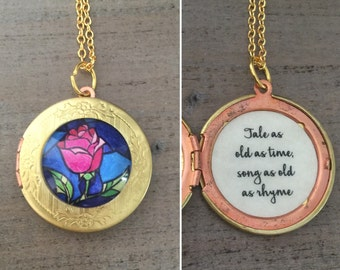 Beauty and the Beast Locket, Belle Rose Necklace, Tale as old as time quote, gift for her