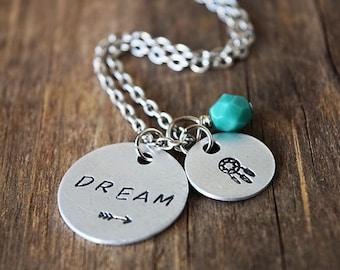 Hand Stamped Dream Catcher Necklace /  Hand Stamped Necklace / Dream Arrow Czech Teal Bead Necklace