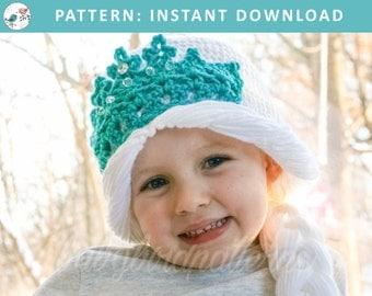 Let it SNOW!  Crochet Disney Frozen Elsa Hat with Braid and princess crown - PDF Download Pattern