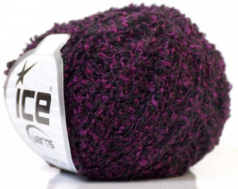 1 Skein Ice Boucle 50g Purple Black Yarn Medium Worsted Weight Mohair and Wool