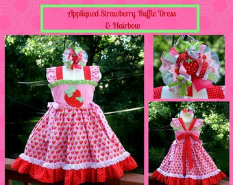 Strawberry Applique Flutter sleeve Ruffle Dress, Matching Hairbow,  Hair bow is Available,  Birthday Party dress,  Special Occasion