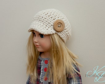 "The Chloe Hat Crochet Pattern- American Girl Doll Crochet Pattern- 18"" Doll Crochet Pattern"
