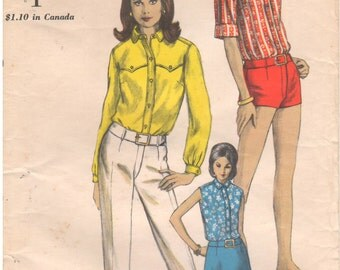 1967 - Vogue 6750 Vintage Sewing Pattern Size 14 Bust 34 Coordinates Blouse Pants Shorts Skirt Button Down A Line Straight Leg Short Shorts