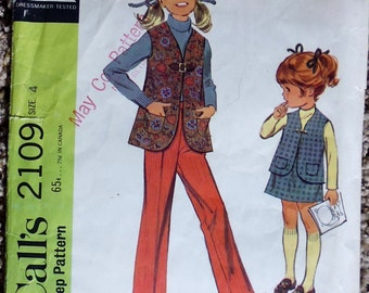 McCalls 2109 girls vest and pants pattern, breast 23 pattern, waist 21 pattern, 1960s girls pattern, girls vest pattern, girls pull on pants