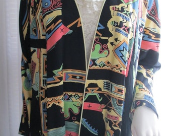 1990's Ladies Colorful Abstract Print JACKET by AUDIO/Connie Anderson