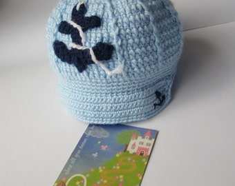 Nautical Hats for Boys, Anchor Hat for toddlers, Crochet Baby Newsboy Hat, Blue Baby Boy Hat, Newborn boy hat, Sailor hat
