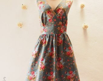 Flawless - Exotic Floral Dress - Vintage Inspired Floral Bridesmaid Dress - Floral Summer Dress - Short Dress - Tea Dress - XS-XL, Custom