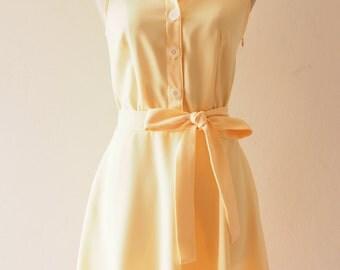 DOWNTOWN - Yellow Shirt Dress Pastel Yellow Bridesmaid Dress Midi Dress 1950 Inspired Dress La La Land Fashion Yellow Summer Dress