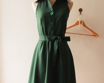 DOWNTOWN Green Sundress Vintage Inspired Midi Dress Skater Dress Summer Dress Forest Green Shirt Dress Green Bridesmaid Dress Skater Dress