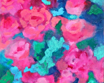 "Original Abstract Floral Painting, Acrylic Painting, Colorful Modern ""Climbing Roses"" 11x14"