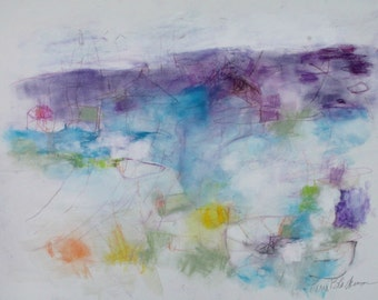 "Abstract Expressionist Work on Paper, Mixed Media, Colorful, Gestural, ""Embark"" 18x24"