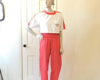 VTG 80s Peach Sailor Jumpsuit Romper U62 Vintage Costume
