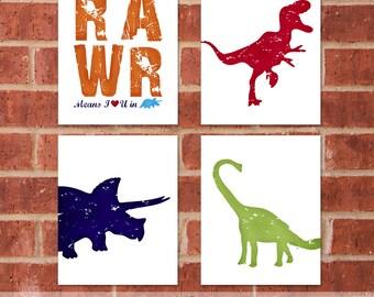 Dinosaur Canvas - Set of Four 8x10 - Trex Canvas - Designer Set 9