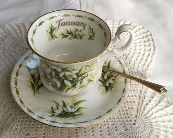 Snowdrops - JANUARY Flowers of the Month Series - Royal Albert - 1970s Vintage - Small TEACUP & SAUCER - Bone China - Staffordshire, England
