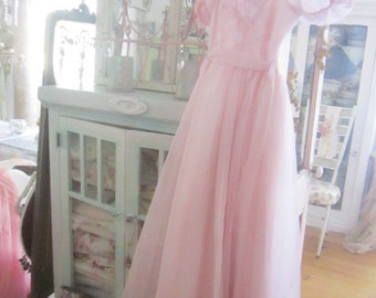 Vintage lace pink prom dress shabby chic prairie country cottage