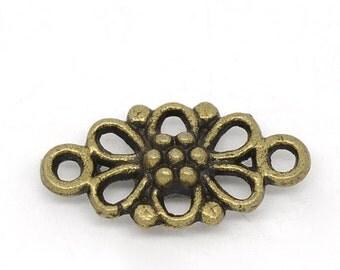 CLEARANCE Antique Bronze Filigree Flower Connectors (20)