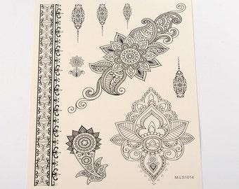 Black Henna Style Tattoo Sheet