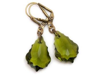 Olive Green Earrings, Swarovski Crystal Elements, Green Crystal Jewelry Nickel Free, Khaki Green Jewelry, Austrian Crystal Earrings, Finella