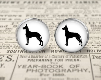 Great Dane Dog Button Earrings