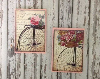 Dollhouse Miniature Shabby Chic Light Pink Wooden Sign Victorian Bikes and Flowers Wall Art - Set of 2