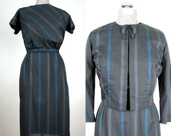Vintage 1950s Dress and Jacket Set 50s Plaid Cotton Suit by Nelly Don Size 8 M