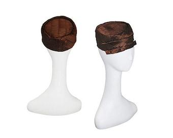 1960s Pillbox Hat, Pleated Silk, Brown Hat, Vintage Neiman Marcus