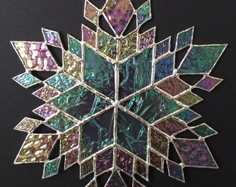 stained glass snowflake suncatcher (design 37C)