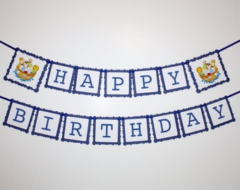 Noah's Ark Happy Birthday Banner, Noah Ark Banner, Party Banner, Boy's Bedroom Decoration, Cake Smash Photo Prop, Noah's Ark Party Decor