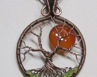 Honey Amber Carnelian Wire Wrapped Tree of Life, Artisan Full Moon Tree of Life, Carnelian Necklace