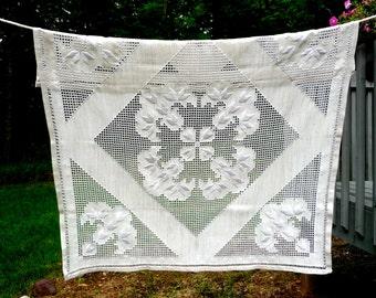 Beautiful Ecru Linen Tablecloth Handmade Embroidery German Vintage