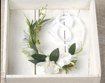 Orchid Flower Crown, White Wedding Headpiece, Floral Head Wreath, Bridal Headband, Wedding Hair Piece, Leaf and Fern Circlet, Halo Headdress