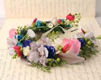 Spring Wedding Crown, Flower Head Wreath, Bridal Hair Wreath, Floral Wedding Head Piece, Maternity Flower Crown, Summer Festival