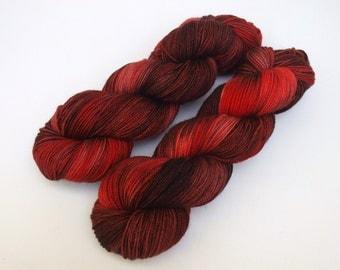 Hand Dyed Fingering, Sock Yarn, Superwash Merino Wool, Variegated, Knitting Yarn, All Things Bruised And Bloody