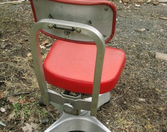 Early Ergonomic Stamped Red Chair--Adjustable Four Ways