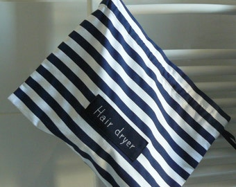 Hair dryer bag, hair dryer holder, thick cotton, nautical, stripes fabric