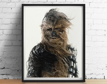 CHEWBACCA Star Wars Print, Chewbacca Snow Poster, Vintage Retro Boys Room Teens Wall Art, Star Wars Gifts, Dorm Decor, 8x10 to Large Poster