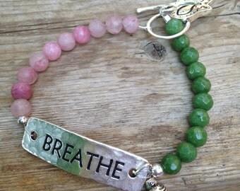 Breathe  Beaded Bracelet, Message Bracelet,Jade Gemstone Bracelet, Nature Bracelet,Green and Pink Bracelet