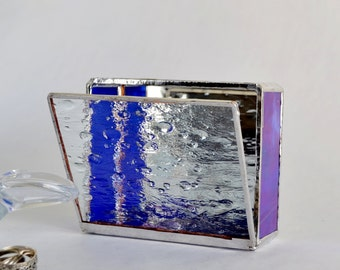 Blue Glass Box, Glass Display Box, Jewelry Box, Valentines Day Gift For Her, Wedding Display Box, Glass Jewelry Box.