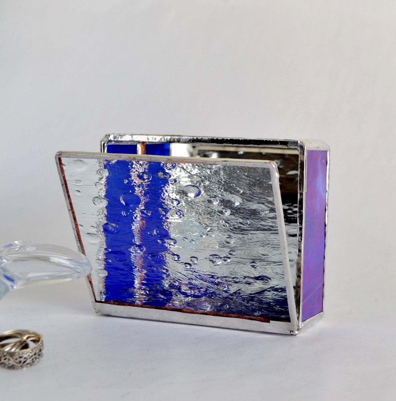 Blue glass box display jewelry valentines day