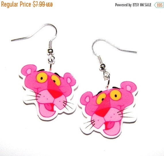 ON SALE Pink Panther Earrings Inspector Clouseau